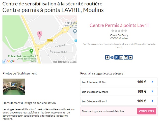centre permis à points